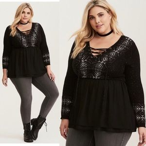 Torrid | Fair Isle Knit Chiffon Trim Sweater Top